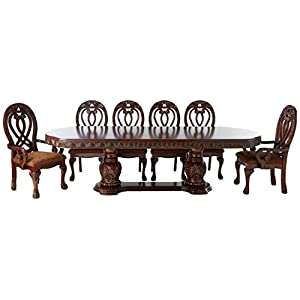 HOMES: Inside + Out Aragon 7 Piece Formal Dining Table Set, Cherry