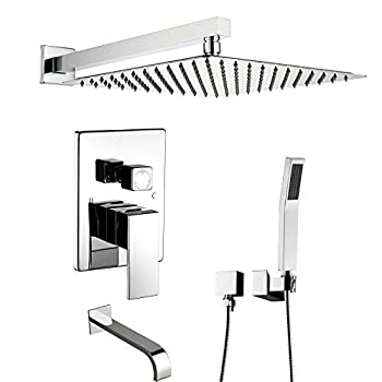 Image of Artbath Shower System With Tub Spout,Tub Shower Faucet Set Wall Mount for Bathroom and High Pressure Rain Shower Head Set(Contain Shower Faucet Rough-In Valve),Chrome Home Improvements