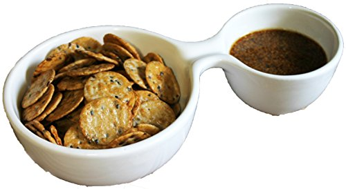 Uno Casa Chip & Dip Fruit Bowl for Portion Control and A Personal Serving Dish - Good For Salsa Dips, Snacks, Appetizers - Divided With 2 Bowls in 1