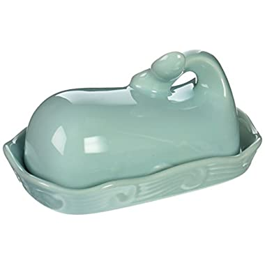 Creative Co-op DA4866 Stoneware Whale Shaped Butter Dish, Aqua Blue