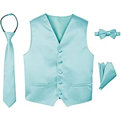 Spring Notion Boys' 4-Piece Satin Tuxedo Vest Set 14 Aqua