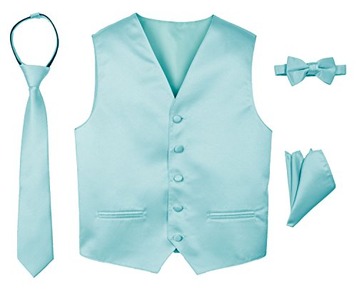 Spring Notion Boys' 4-Piece Satin Tuxedo Vest Set 10 Aqua