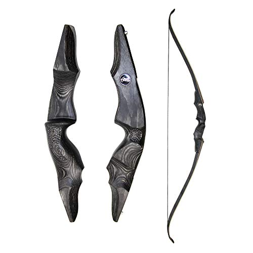 GLURAK Archery 60'' Takedown Traditional Recurve Wooden Bow w/Carved Riser for Hunting (40 LB, Right)