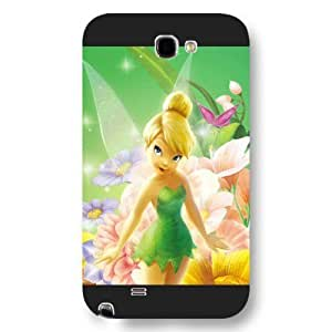Kingsface UniqueBox Customized Disney Series cell phone case cover for Samsung Galaxy Note 2, Lovely Cartoon Tinker Bell Samsung Galaxy Note 2 case cover, Only Fit iKdRYyKrHKL for Samsung Galaxy Note 2