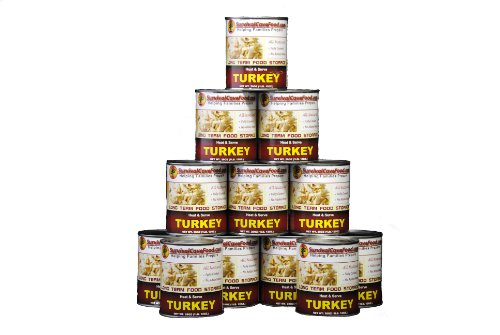 SurvivalCaveFood Gourmet Canned Turkey Food Storage - Full Case, 12 cans/108 servings - 28 oz cans