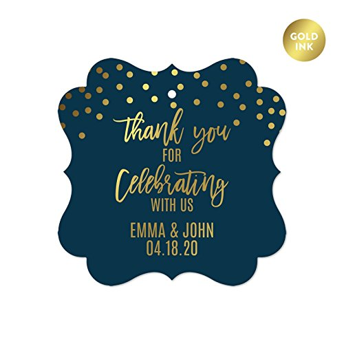 Andaz Press Navy Blue with Gold Metallic Ink Wedding Party Collection, Personalized Fancy Frame Gift Tags, Thank You for Celebrating With Us, 24-Pack, Custom Name by Andaz Press