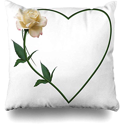 Throw Pillow Cover Bouquet Realistic Ivory Rose Romantic Heart Nature Valentine Birthday Blossom Border Bud Design Home Decor Cushion Case Square Size 18