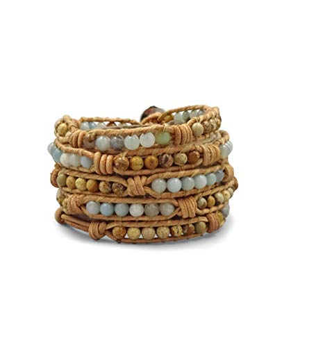 (MGR Multi-Layer Hand Crafted Boho Amazonite and Picture Jasper Stone Beaded on Genuine Leather Super 5 Wrap Bracelet 35