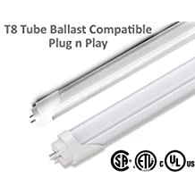 "T8 4ft 48"" Tube Ballast Compatible Retrofit Bulb - 18W (32W fluorescent), T8 4ft, 48"", 3000K - warm white, G13 bipin - 160 degree beam angle (+180 degree rotatable cap), Length - T8 4 ft (48 inch or 1200 mm)"