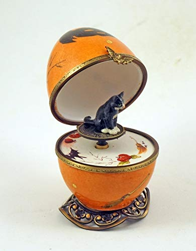 Authentic French Porcelain Hand Painted Limoges Box Halloween Musical Egg with Black Cat Key ()