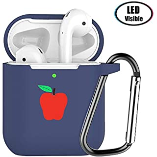HARABI Upgrade AirPods Case Silicon Protective Cover, [Front LED Visible] Shockproof Soft Silicone Case Cover Skin Compatible for Apple AirPods 2 & 1, with Keychain.(Black)