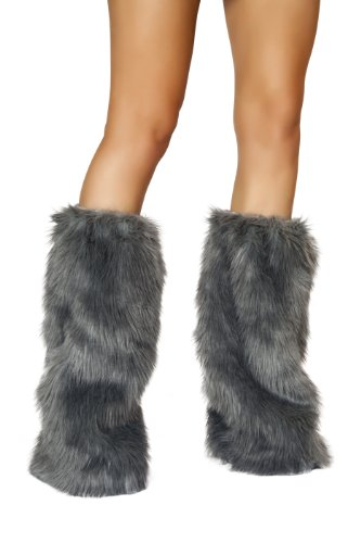 Roma Costume Women's Faux Fur Boot Covers, Grey, One Size]()