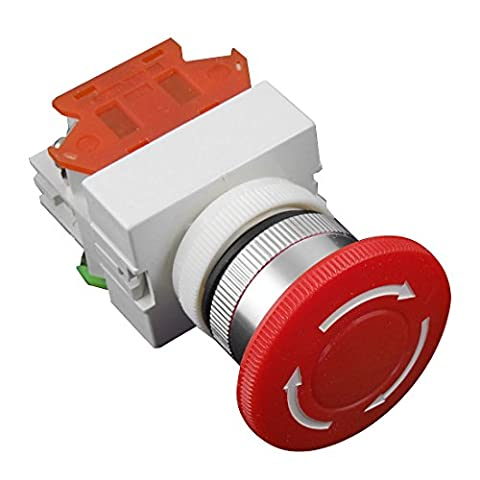 uxcell AC 660V 10A 40mm Red Sign Emergency Stop Switch Push Button Mushroom (Piega Funghi)