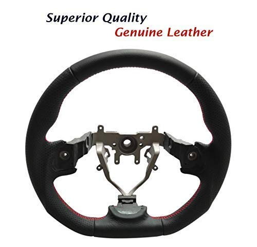 Leather Steering Wheel D Shape fit for SUBARU WRX STI IMPREZA FORESTER 2008-2014 ()
