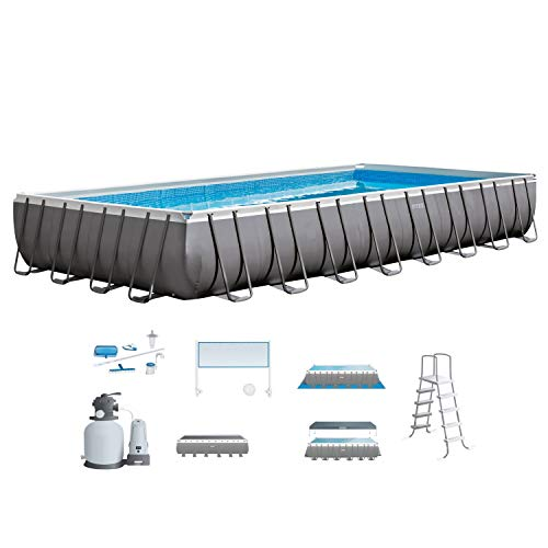 Intex 32ft X 16ft X 52in Ultra Frame Rectangular Pool Set with Sand Filter Pump & Saltwater System, Ladder, Ground Cloth, Pool Cover, Maintenance Kit & Volleyball