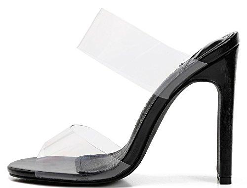 4 High J Slim Clear Mackin On Double 254 Slip Toe Black Open PVC Mules Heel Straps ERvgqg