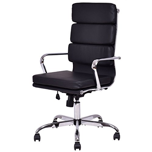 Giantex High Back PU Leather Executive Office Chair Computer Desk Task Swivel Black by Giantex