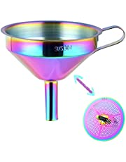 Youdepot Food Grade Stainless Steel Kitchen Funnel with Strainer Filter for Transferring of Liquid Dry Ingredients and Metal Cooking Funnel—(Rainbow Color)