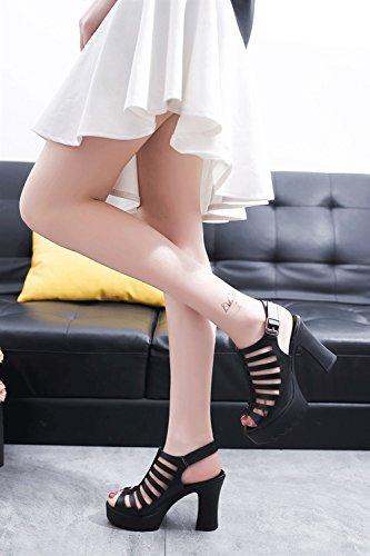Sandalias Sandalias Abierta Zapatos Mujer Heels de HJHY® Sandalias Sexy Hebilla Hollow Punta Sandalias Negro Thick High con Romanas Summer 6wO5OxqPT