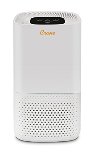 Crane USA Tower Air Purifier with True HEPA Filter, White