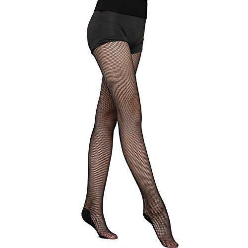 Velidy Women's Professional Hard Stretch Non-slip Dance Fishnet Tight Stockings Samba Tango Latin Dance Pantyhose (Black)