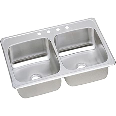 Medium image of elkay cr43221 1 hole gourmet double basin drop in stainless steel kitchen sink