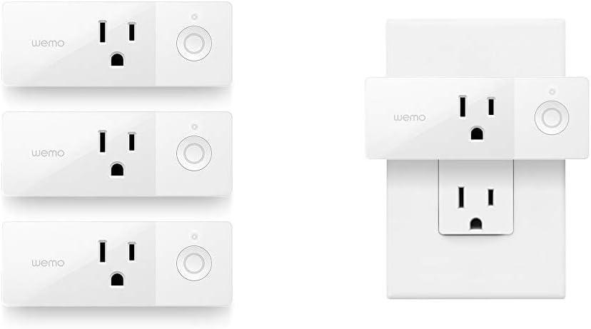 WeMo Mini Smart Plug 3-Pack, WiFi Enabled, Works Amazon Alexa The Google Assistant & Mini Smart Plug, WiFi Enabled, Works with Alexa, Google Assistant & Apple HomeKit