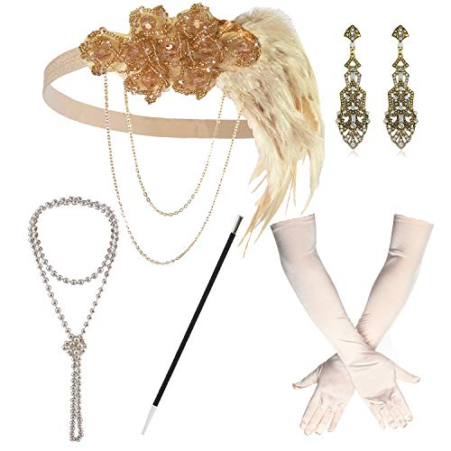 1920s Great Gatsby Accessories Set for Women,Costume Flapper Headpiece Headband (Medium, M40) ()