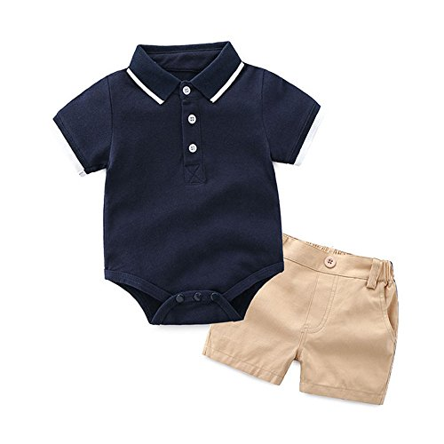 Top and Top Baby Boys Short Sleeve Polo Shirt+Short Pants Clothes Set (Blue, 90/12-18 Months)