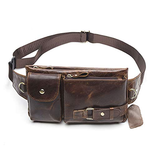 Hebetag Vintage Leather Waist Bag Fanny Pack for Men Women Travel Hunting Hiking Climbing Multi-Purpose Hip Bum Belt Slim Cell Phone Purse Wallet Pouch