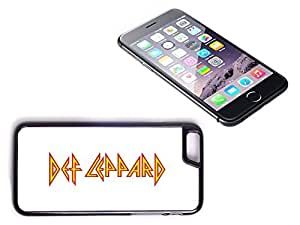 iPhone 6 Black Plastic Hard Case with High Gloss Printed Insert Def Lepard White