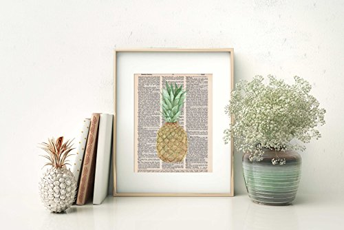 Pineapple Art - Vintage - Dictionary Page Print - Handmade - 8.5x11 - UNFRAMED