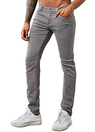 ZLZ Men's Slim Fit Stretch Comfy Fashion Denim Jeans Pants (Grey, 31)]()