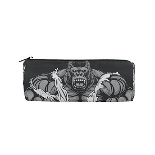 Saobao Fashion Pencil Case Pen Bag Ferocious Gorilla Premium Quality Zipper Pen Holder Suitable for Student or Office Work Travel Makeup Bag
