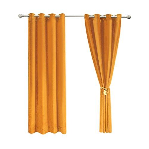 Sideli Solid Grommet Matt Heavy Velvet Curtain Drape Panel Blackout Super Soft in Theater| Bedroom| Living Room| Hotel 1 Piece (52-Inch-by-96-Inch, Orange) ()
