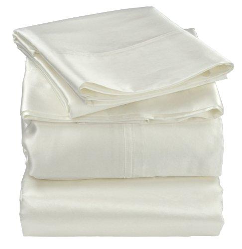 (Empress Silk Cotton/Silk Satin Sheet Set, Queen, White)