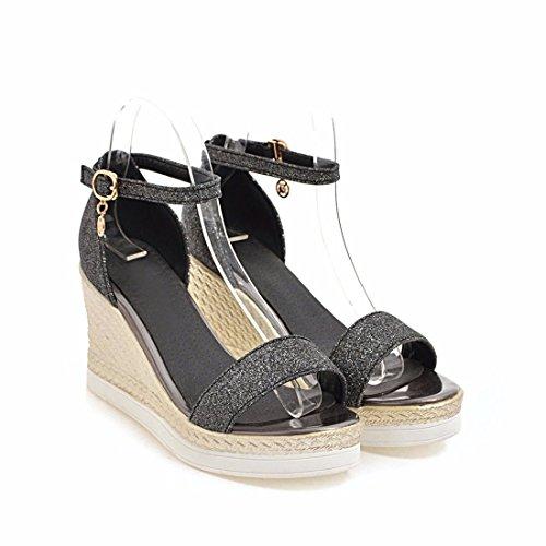 pies los Altos Mujer Sandalias de Tacones Sandalias bizcochos de Sandalias Sandalias Dedos black Sandalias 5wtx0A8qU