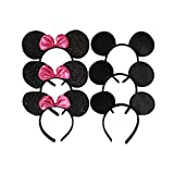Mickey Mouse Ears Solid Black and Rosered Bow Minnie Headband for Boys and Girls Birthday Party or Celebrations (Pack of 6)