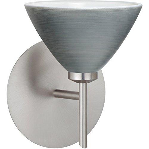 Besa Lighting 1SW-1743TN-LED-SN Besa, Domi Mini Sconce, Titan, Satin Nickel Finish, 1x5W LED ()