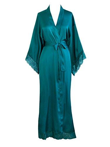 Old Shanghai Women's Kimono Robe Long - Lace Trim (Vintage Robe)