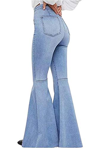 Women's Fashion Bell Bottom Pants High Waist Tassel Stretch Curvy Fit Jeans Light Blue, US 0/2