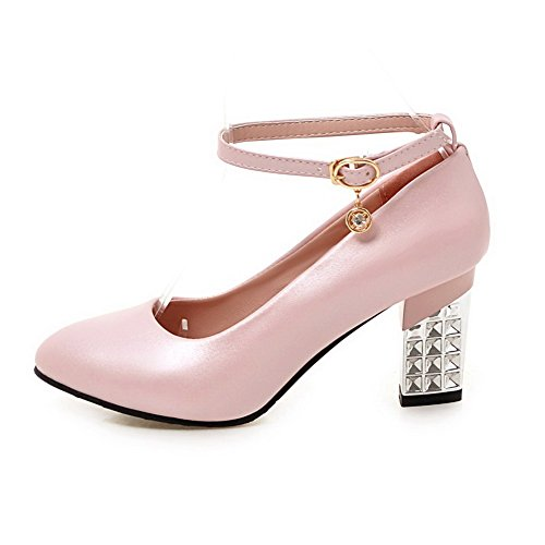 Odomolor Women's High-Heels PU Solid Buckle Closed-Toe Pumps-Shoes, Pink, 38