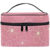 SAVSV Travel Makeup Bags With Zipper Pink Floral Design Cosmetic Bag Toiletry Bags Train Cases Storage Bags Portable Multifunction Case for Women Girls