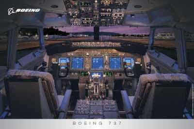 Multi-Piece Wood Wall Art Boeing 737 flight deck