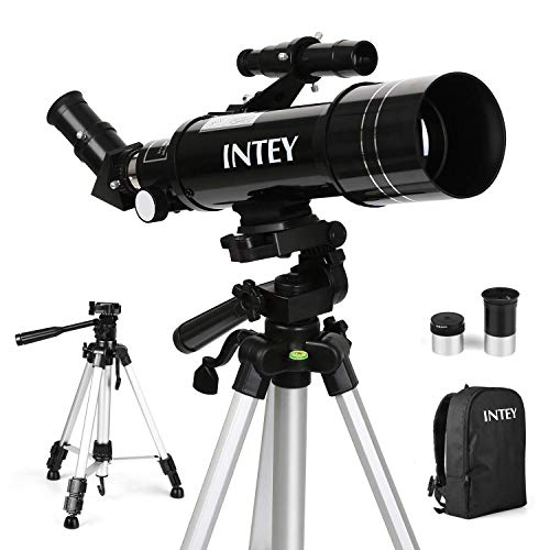 INTEY F40070M Telescope Astronomy - The Achromat Eyepiece of Kellner K25mm and K6mm, Refraction Telescope, Adjustable Aluminum Tripod (50~120cm), with Backpack, Suitable for Beginner Amateurs