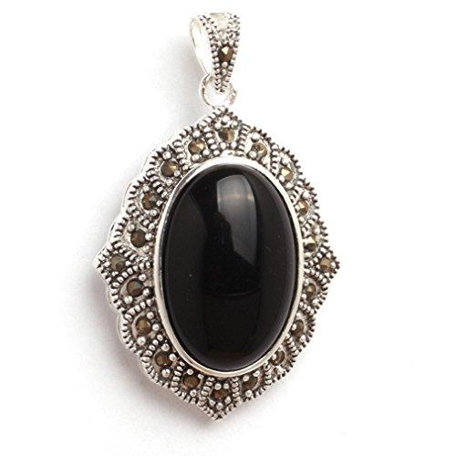 26x42mm Oval Semi Black Agate Beads Marcasite Tibetan Silver Pendant