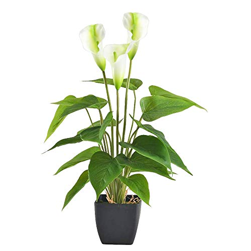 GTIDEA 17 inches Artificial Calla Lily Potted Plant Fake Bonsai Flower Arrangements with Black Plastic Pot Home Office Bedroom Table Centerpieces Decor - Lily Pots