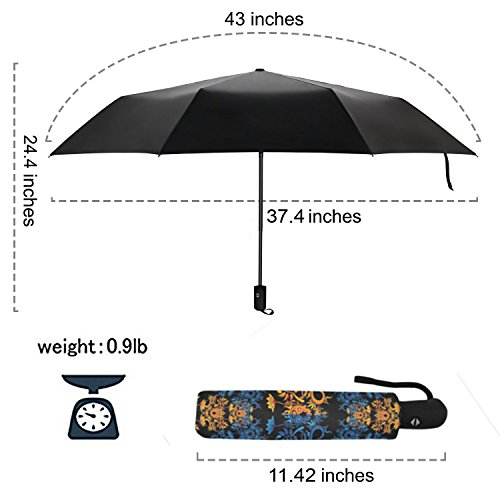 InterestPrint Beautiful Romantic Rose Windproof Automatic Open And Close Folding Umbrella,Girly Flower Travel Lightweight Outdoor Umbrella Rain And Sun,Red by InterestPrint (Image #5)