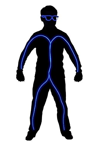 GlowCity Light Up Stick Figure Costume Kit (Childs Size 3-5 FT Tall) Includes Lights, Shades and Clips Only-Attaches Onto Your Own Clothing (Led Light Costumes)