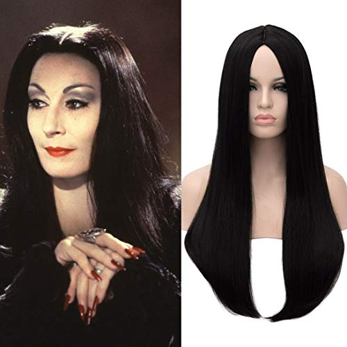 Mersi Wednesday Addams Wig Long Black Wigs for Morticia Straight Cosplay Costume Wigs Synthetic Hair Wig 27 Inch with Wig Cap S034BK